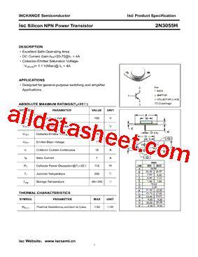 2n3055h transistor 2n3055h datasheet pdf inchange semiconductor company limited