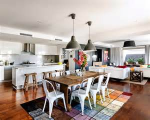 small open plan kitchen and living room home design ideas pictures