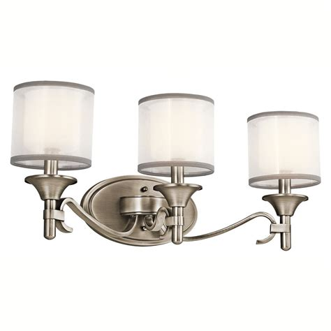 Kichler Vanity Light by Shop Kichler 3 Light 10 In Antique Pewter Drum