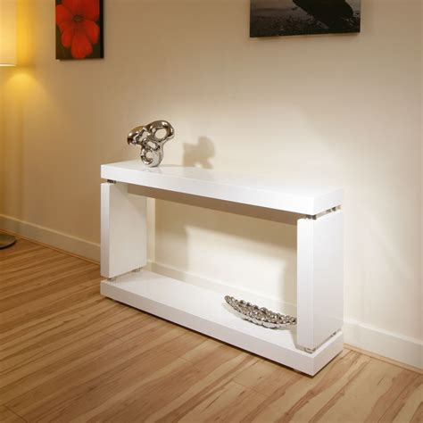 Console Hall Table In High Gloss Glossy White Lacquer White High Gloss Sofa Table
