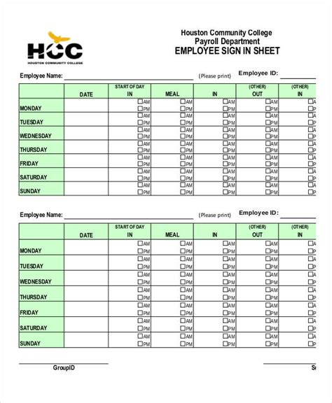 Payroll Sign In Sheet Template Employee Sign In Sheets 8 Free Word Pdf Excel Documents Download Free Premium Templates
