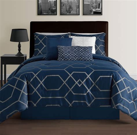 hton navy blue king size bed 7pc jacquard grey