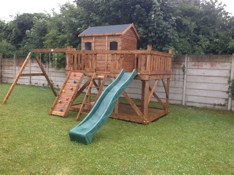 playhouses with slide and swings tree house adam three house playhouse terrace swings slide