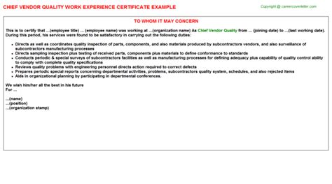 Experience Letter Quality Chief Vendor Quality Work Experience Certificate