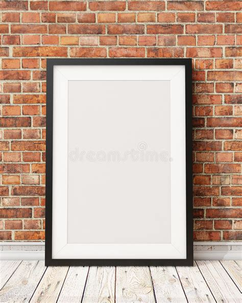 Poster Wall The Shimeson Wood Frame mock up blank black picture frame on the brick wall and the wooden floor background stock