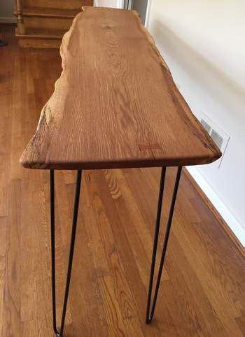 live edge sofa table legs live edge oak sofa console foyer table black hairpin legs