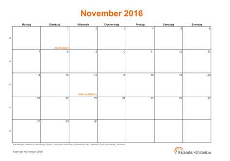 Kalender 2016 November November 2016 Kalender Mit Feiertagen