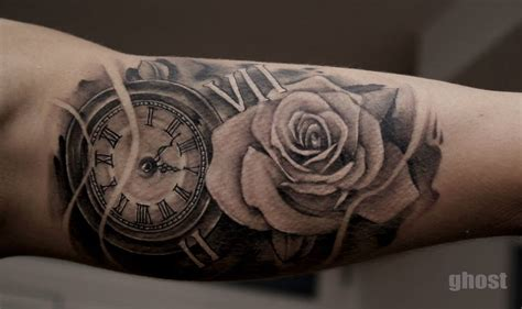 watch and rose tattoo black illuminati eye in pocket on forearm by