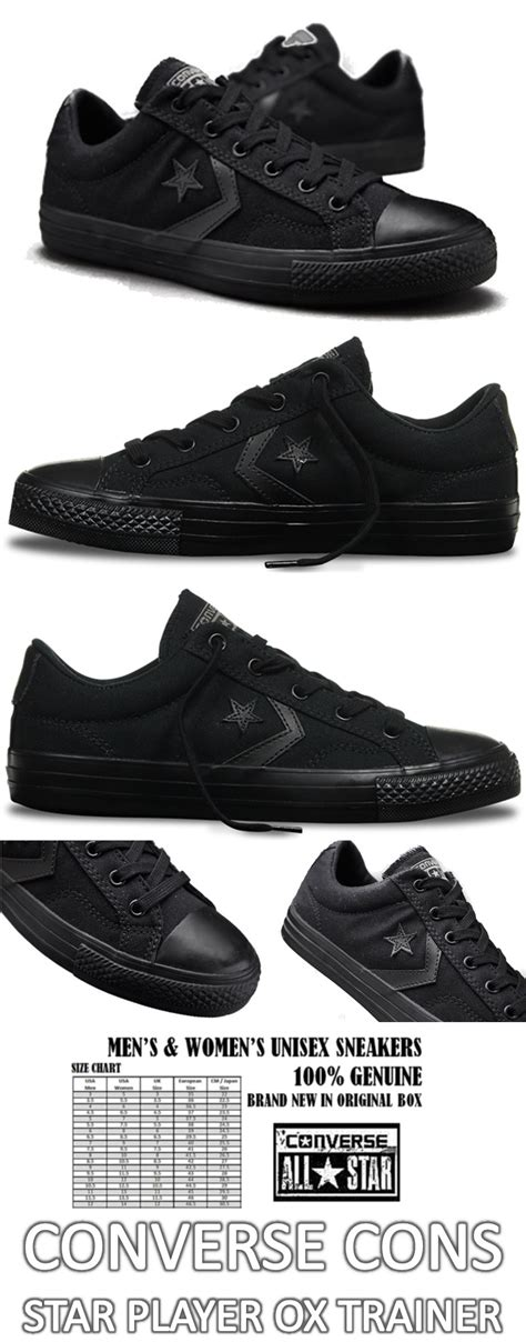 converse cons player ox black unisex casual sneakers