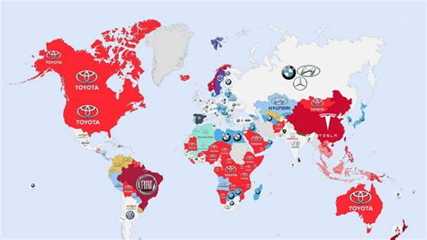most popular car brand by state map a world map of the most googled car brands