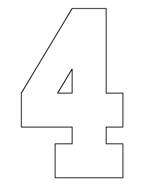 numbers templates number 4 pattern use the printable outline for crafts