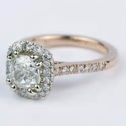 custom two tone cushion halo engagement ring