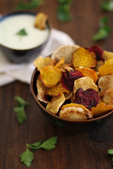 baked root vegetables baked root vegetable chips with buttermilk parsley dipping