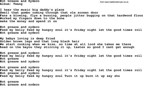 testo canzone grease grease and zydeco by george strait lyrics