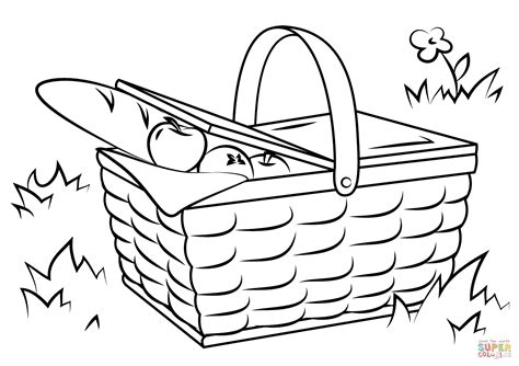 picnic coloring pages picnic basket food coloring page free printable coloring