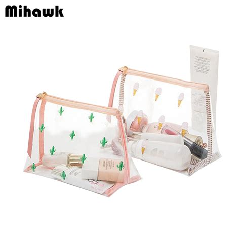 Clear Waterproof 7pcs Multicolor Waterproof Pouch Bag For pvc mini cosmetic bag transparent waterproof clear organizer pouch lovely makeup bags
