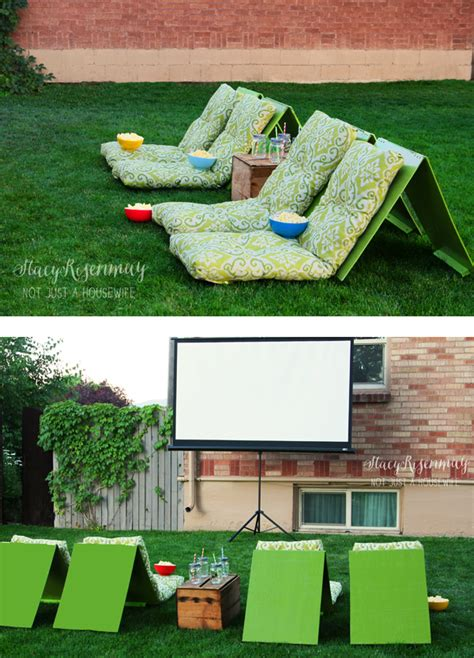 how to make a backyard movie theater outdoor movie theater seating not just a housewife