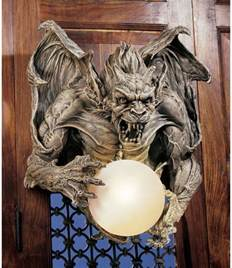 Gargoyle Wall Sconce Sculpted Gargoyle Holding Glass Orb Dramatic Decor Hanging Wall Sconce Ebay