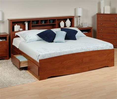 platform storage bed w bookcase headboard ojcommerce
