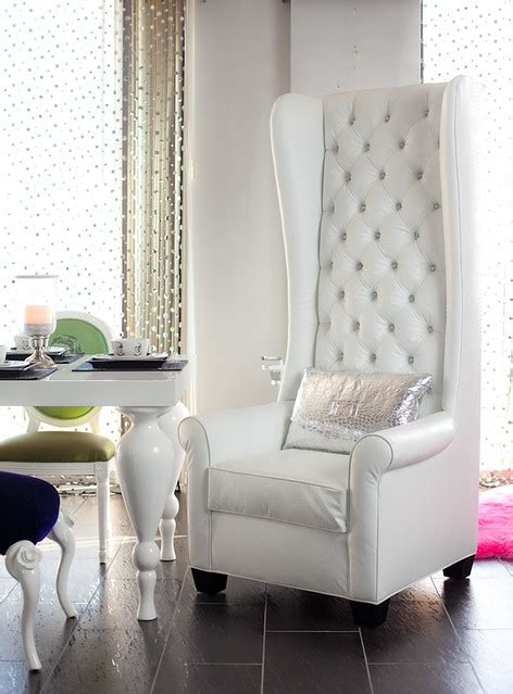 tall wingback chair upholstered  white croco
