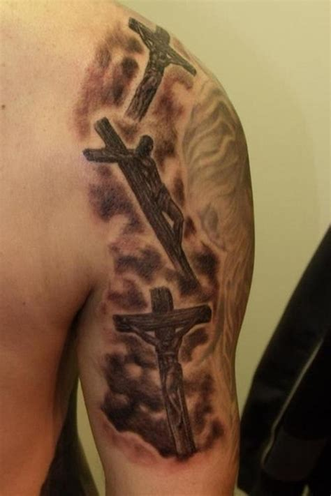 unique cross tattoo ideas unique half sleeve crucifix designs