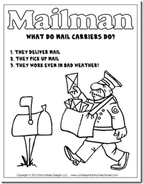 post office coloring pages preschool kindergarten mail carrier unit confessions of a homeschooler