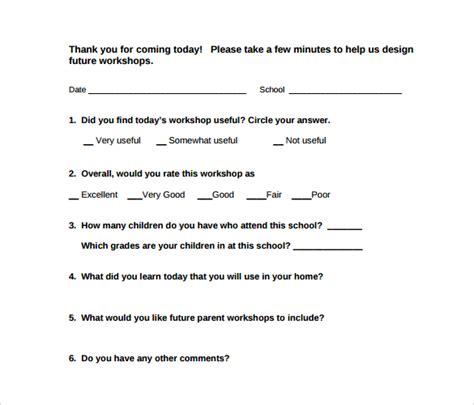 Nursing Report Templates workshop evaluation form 11 free download in pdf