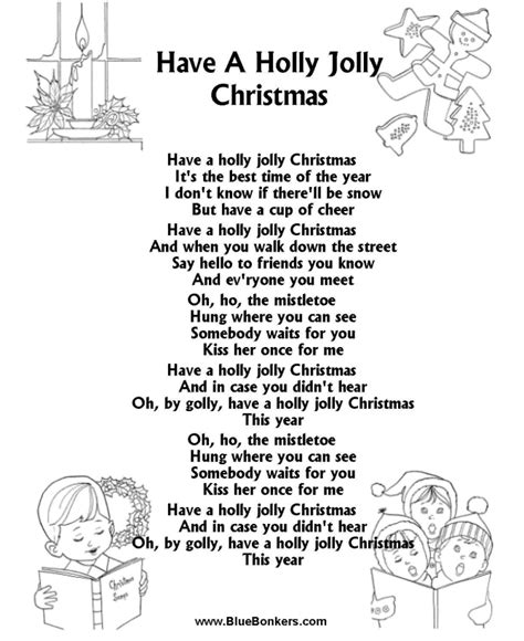 bluebonkers christmas lyrics bluebonkers a jolly free printable carol lyrics sheets