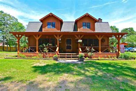 cabin style houses cabin style wrap around porch of home for sale in hubert nc