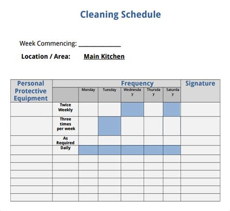 janitorial schedule template house cleaning checklist 6 free for pdf