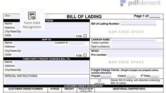 bill of lading form template free bill of lading form template free create fill