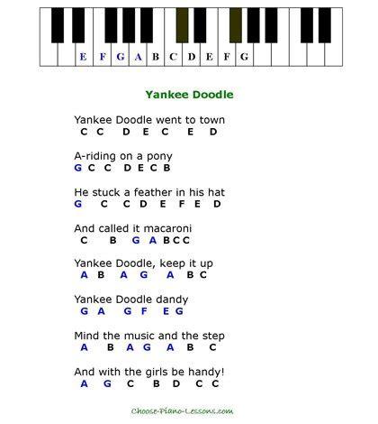 yankee doodle nightclub woodland simple songs for beginner piano players
