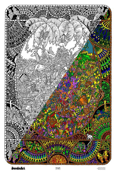 doodle original the original doodleart jungle coloring poster