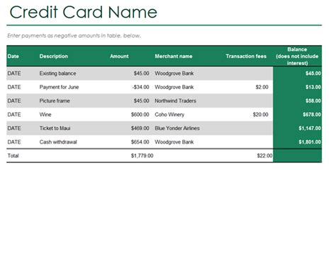 microsoft office credit card payment template credit card log