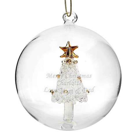 personalised glass bauble reindeer tree or by