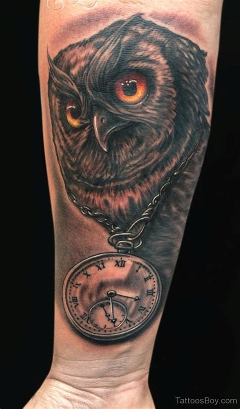 owl clock tattoo clock tattoos designs pictures page 8