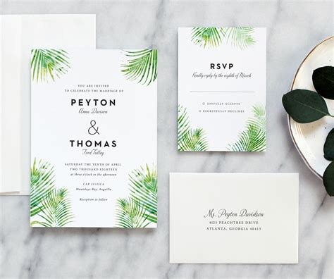 Leaf Wedding Invitations palm leaves wedding invitation day press