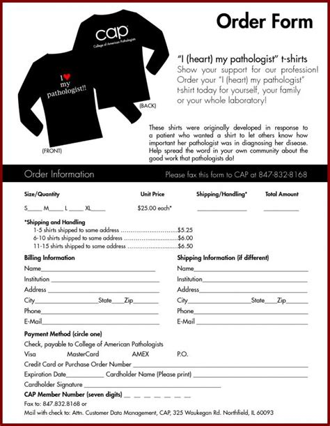 Tshirt Order Form Template by Tshirt Order Form Template Business