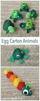 Dinosaur Craft For Kids - adorable egg carton turtle craft and a caterpillar and frog too