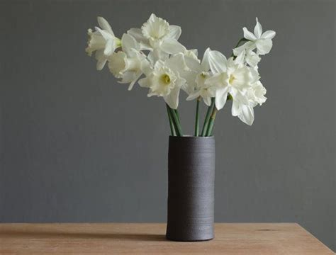 Grey Vase With Flowers Brown Stoneware Vase Narrow Ceramic Vase By