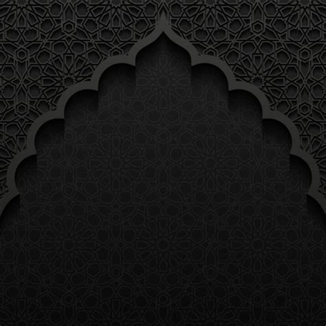 free islamic pattern wallpaper islamic mosque with black background vector 03 vector