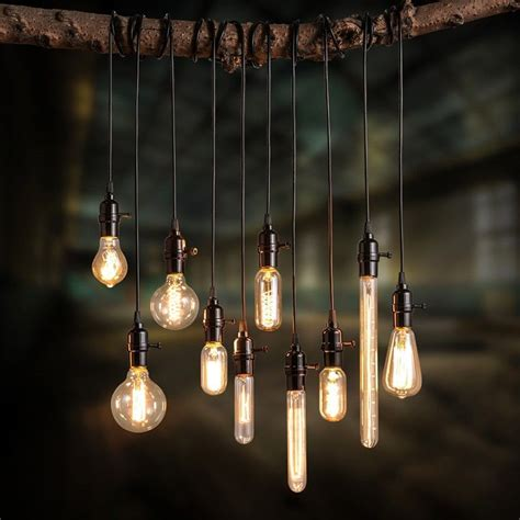 industrial light bulbs exposed bulb and cord add a vintage industrial feel