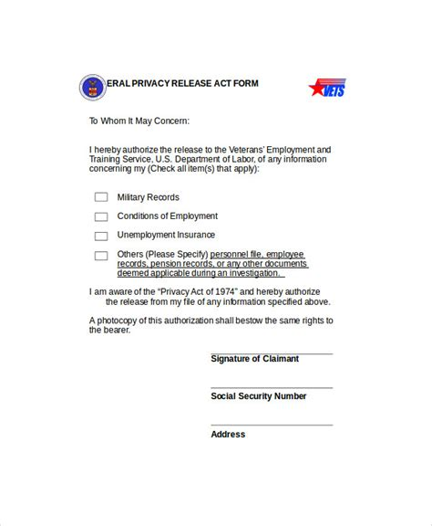 privacy release form template 9 sle privacy act release forms sle templates