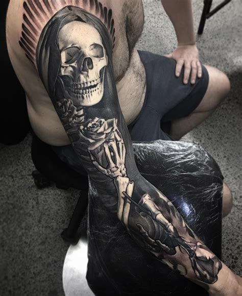 a beautiful death mens skeleton sleeve best tattoo