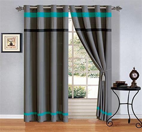 120 x 84 drapes modern 4 piece teal blue grey black grommet curtain