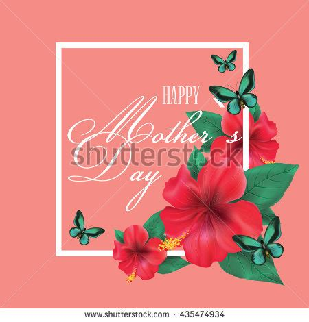 hibiscus card template happy mothers day vector illustration template stock