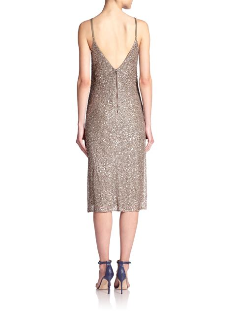 Wst 17230 Hem Sequined Dress lyst yelena sequined dress in brown
