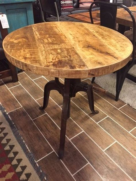 Distressed Bistro Table Distressed Industrial Crank Bistro Table With Adjustable Height 30 Quot D 700 Kitchen Tables