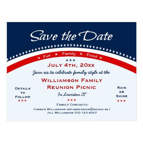 family reunion save the date cards templates 4th of july family reunion save the date postcard