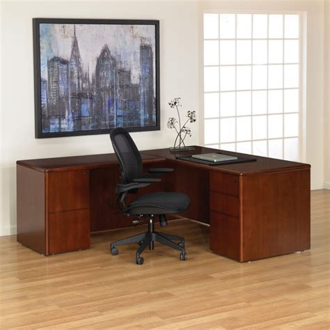 cherry wood l shaped desk l shape desk 66 x78 in dark cherry wood